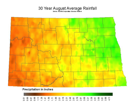 August Average Rainfall