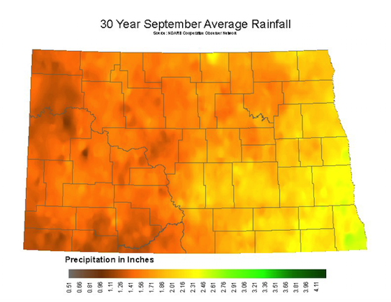 September Average Rainfall